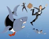 Big business shark  — Stock Vector