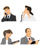 Four businessmen at office — Stock Vector