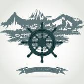 Helm of the ship — Stock Vector