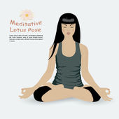 Girl in meditative lotus position — Stock Vector