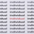 The word individual highlighted in red with shallow focus — Stock Photo #72238615