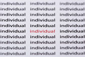 The word individual highlighted in red with shallow focus — Stock Photo