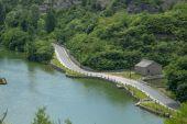 Highway road near lake — Stock Photo