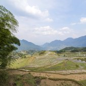 Terraced mountain scener — Stock Photo