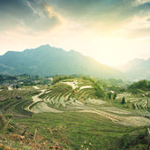 Sunrise in Terraced mountains — Stock Photo