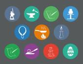Set of traditional craftsmanship arts flat design icons — Stock Vector