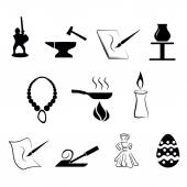 Set of traditional craftsmanship arts icons — Stock Vector