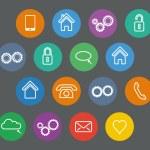 Set of basic flat design outline icons — Stock Vector #71981525