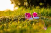 Baby shoes on grass — Stock Photo