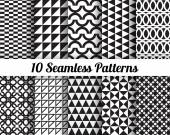 Black and white geometric seamless patterns — Stock Vector