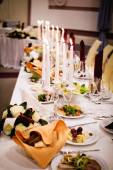 Served banquet table ready for guests — Stock Photo