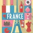 French cultural icons on travel poster. city symbols for postcards, cardboards, posters — Stock Vector #71521919