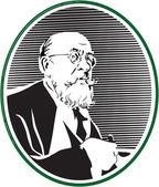 Portrait of Professor — Stock Vector