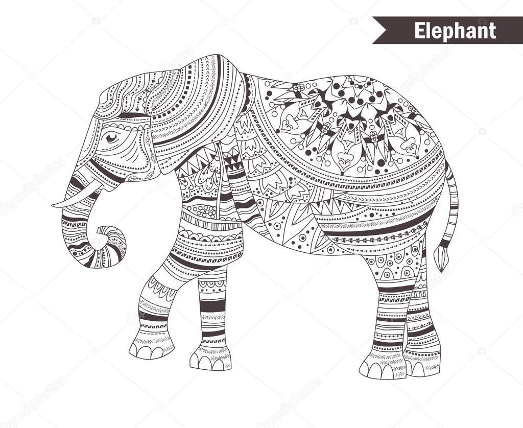 Elefante libro da colorare vettoriali stock - Libro da colorare elefante libro ...