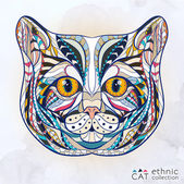 Ethnic patterned head of cat — Stock Vector