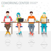 People working in the open space office — Stockvector
