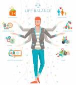 Concept of work and life balance — Vetor de Stock