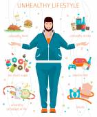 Fat man with his bad habits — Stock Vector