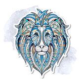 Patterned head of lion — 图库矢量图片