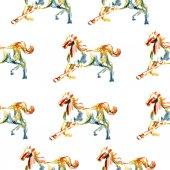 Ilustração de mão desenhada de cavalo, padrão — Vetor de Stock