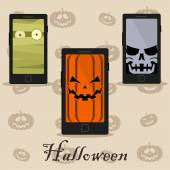 Smart phones with halloween wallpaper — Stock Vector