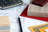 Interior project with material samples, pencil and calculator 3 — Stock Photo