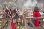 Knight Tournament at Tustan' festival in Urych, Ukraine, August 2, 2014 — Stock Photo