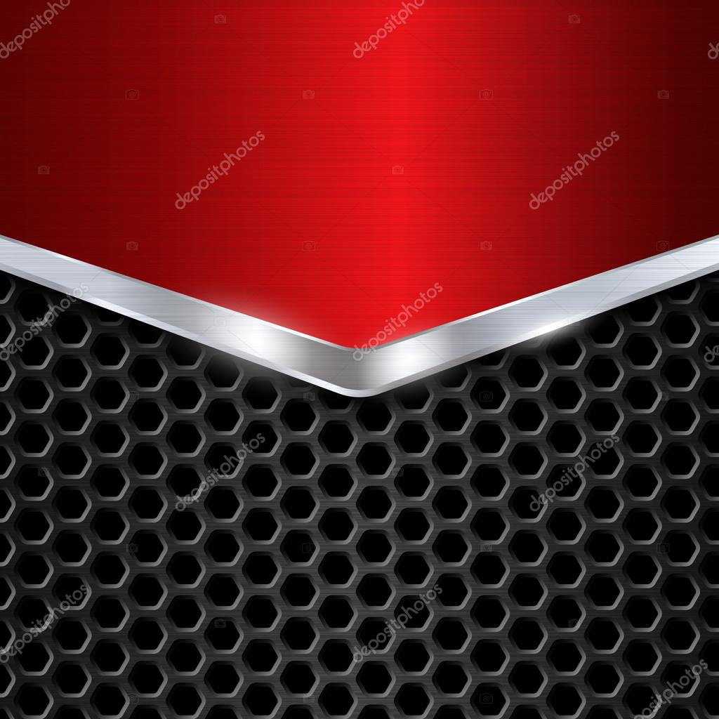 metal background red chrome metal grid honeycomb