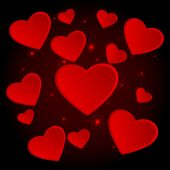 Beautiful background with hearts and light effects. — Stockvektor