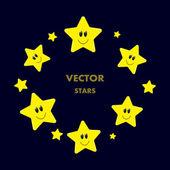 Улыбаясь желтый милые звезды векторные рамки круга. — Cтоковый вектор