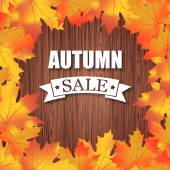 秋の販売。木材の背景のベクトル タイポグラフィ ポスター — ストックベクタ