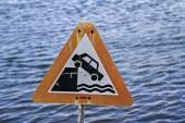 Warning Risk of falling — Stock Photo