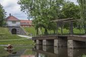 Drawbridge over the moat — Stock Photo