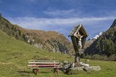 Wooden crucifix in the Valser Valley — Stock Photo