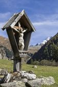 Wooden crucifix in the Vals Valley — Stock Photo