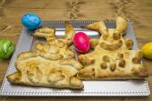 Funny bunnies made from yeast dough — Stock Photo