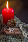 Burning candle in advent — Stock Photo