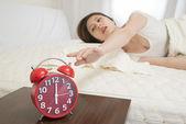Turning Off Alarm Clock — Stock Photo