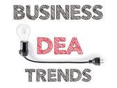 Tendenze di business idea, lampadina, illustrazione, scrittura Mar a mano — Foto Stock