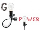 Go power  phrase and light bulb, hand writing,electricity, energ — Stock Photo