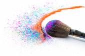 Multi Colored Powder Eyeshadow on a Brush, fashion beauty — Stock Photo