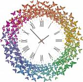 Clock with many multicolored butterflies flying away — Stock Vector