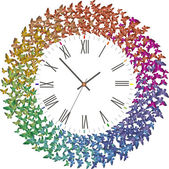 Clock with many butterflies flying clockwith — Stock Vector