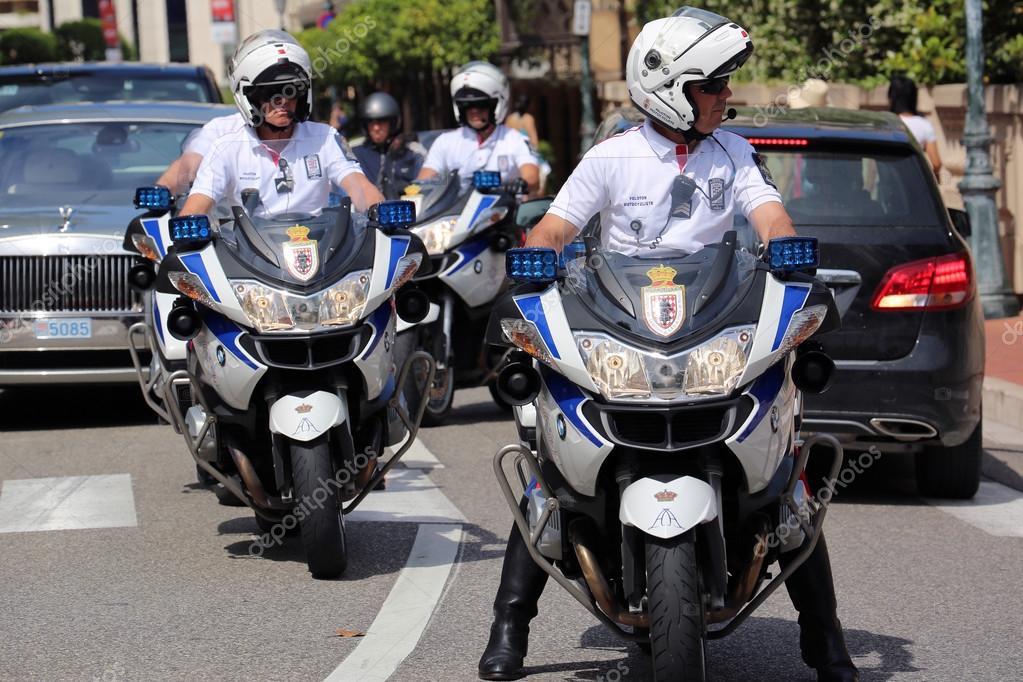 stock photo police escort motorcyclists monaco