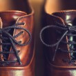 Close up of brown leather mens shoes. — Stock Photo #72070161