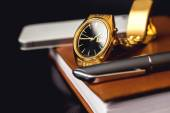 Mens accessory, golden watch, pen and mobile phone on the leather diary. — Stock Photo