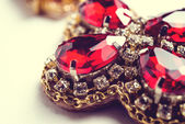 Handmade red earrings with jewels. Vintage style — Stock Photo