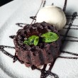 Vanilla ice cream Brownie with mint in dish on table — Stock Photo #73861605