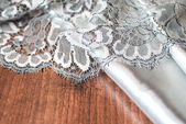Beautiful lace with floral ornament on white background — Stock Photo