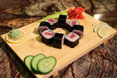 Delicious Tekka maki sushi rolls — Stock Photo
